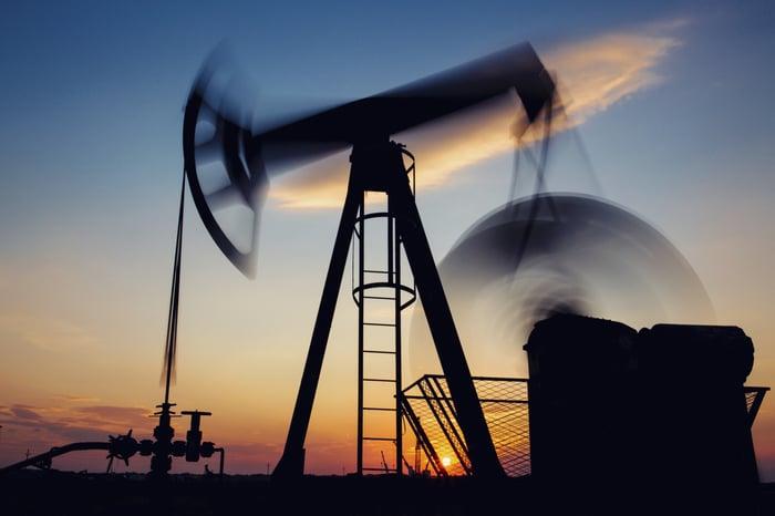 Oil pumpjack in motion.