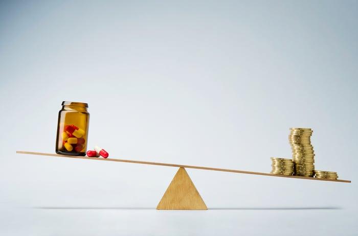 Man and pills on a balance beam