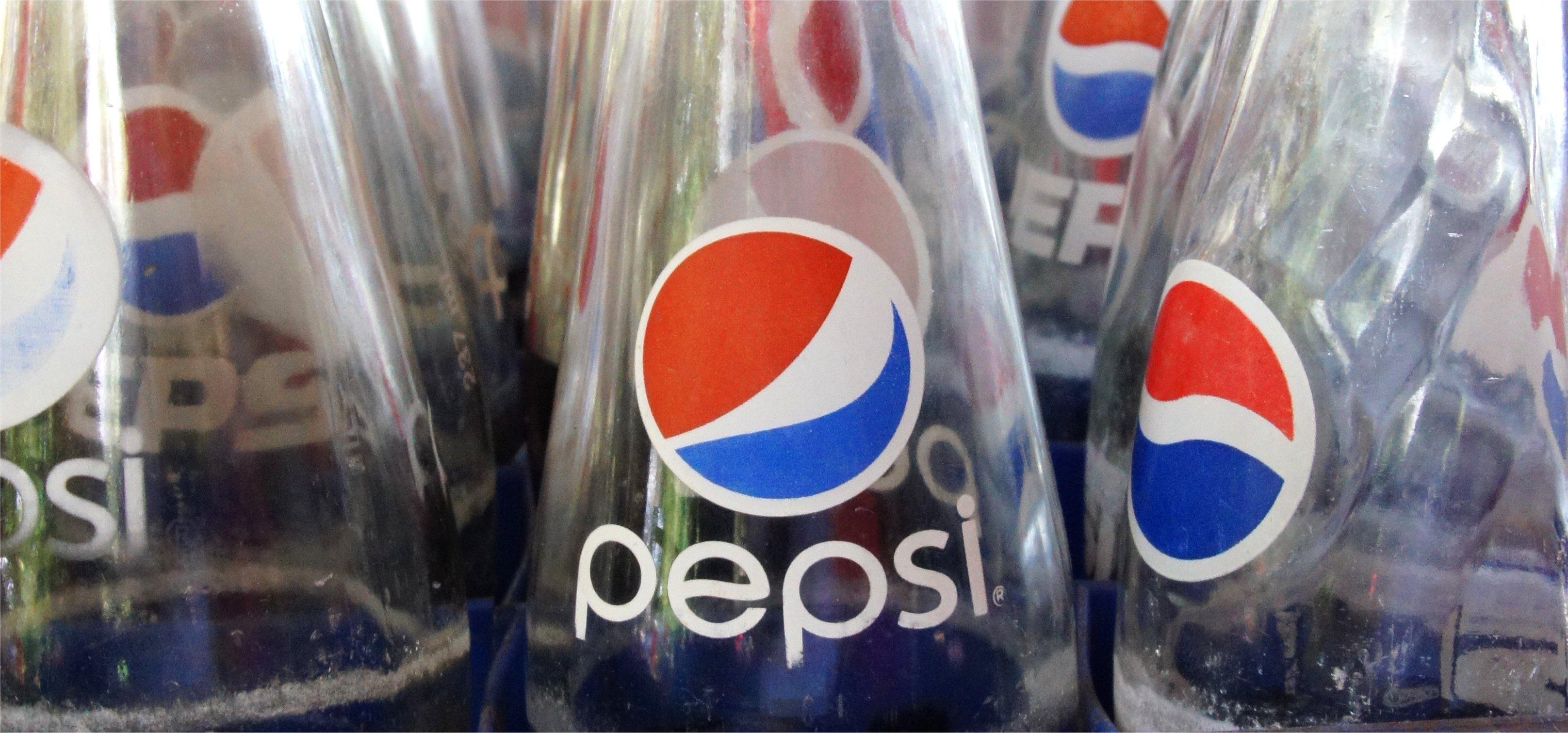 Glass Pepsi bottles.