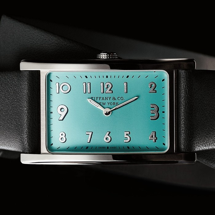 The face of a Tiffany branded watch.