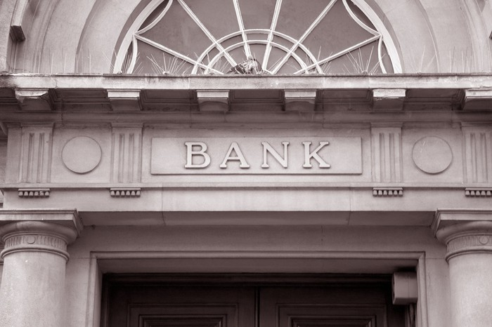 Entrance to bank building.