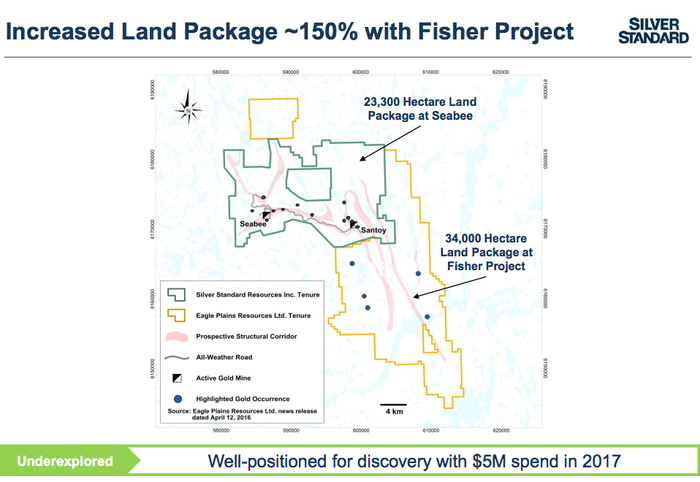 A map of the exploration opportunities at Silver Standard's SeaBee mine and adjacent areas.