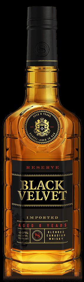 A bottle of premium Black Velvet whisky