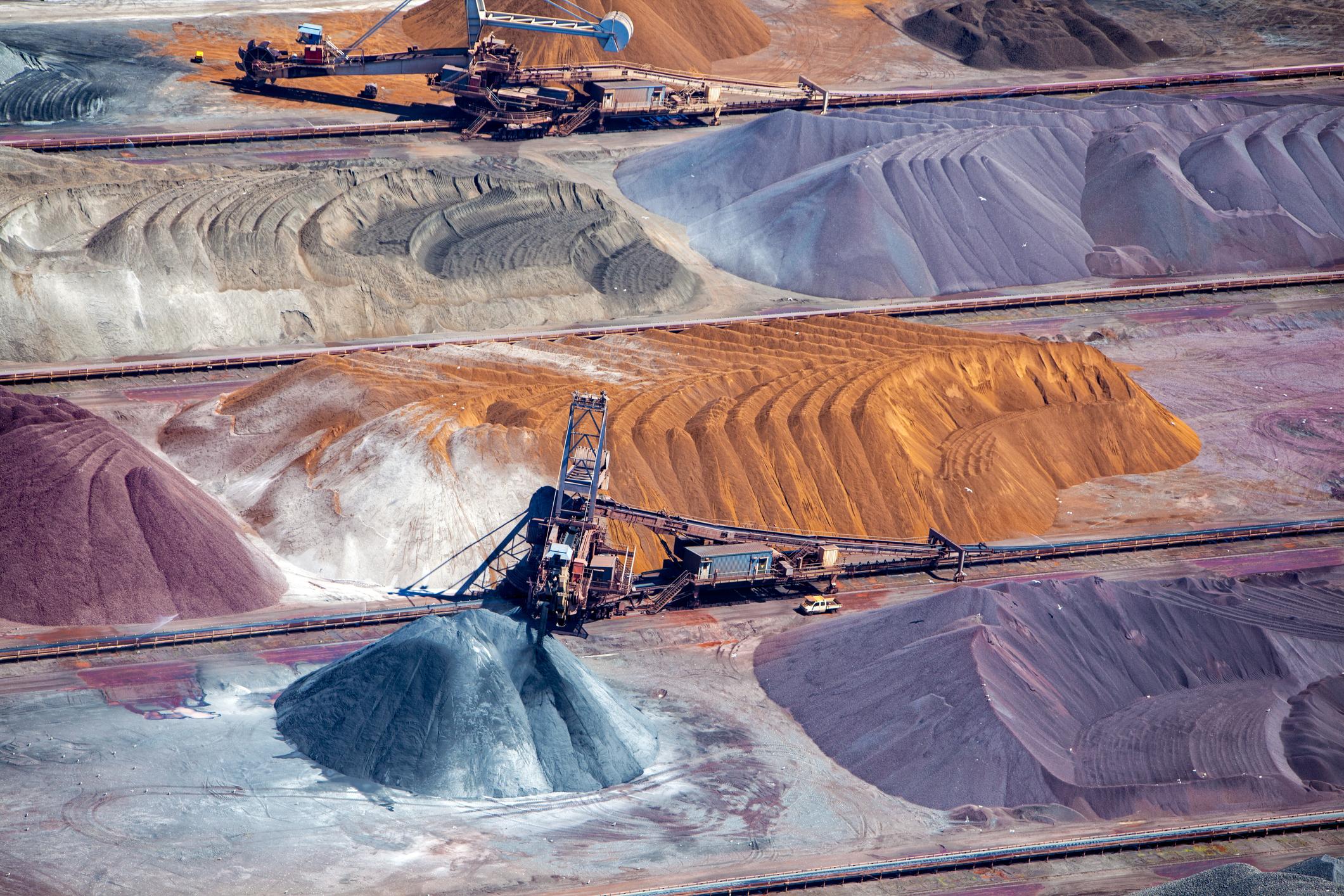 Iron ore mining in operation