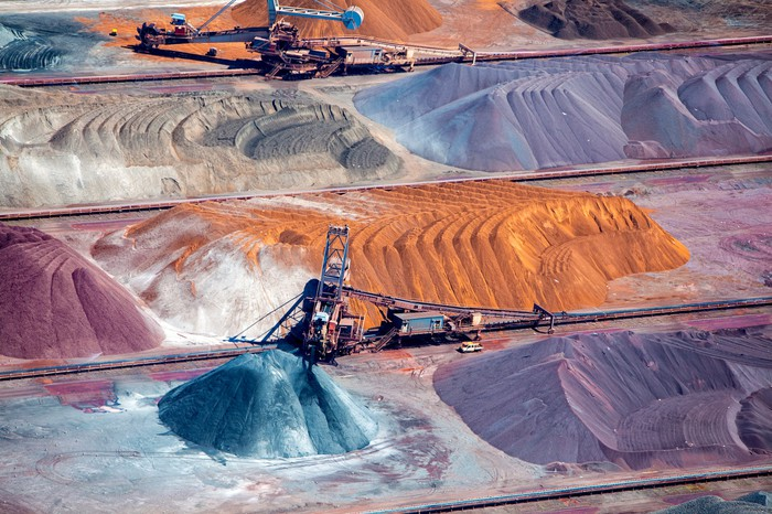 Iron ore mining in operation