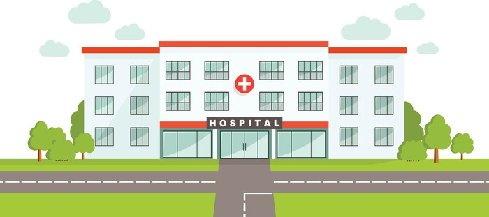 Stylized illustration of a hospital building
