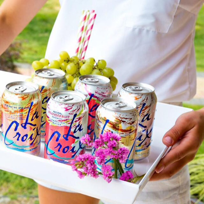 A collection of LaCroix branded soda cans.