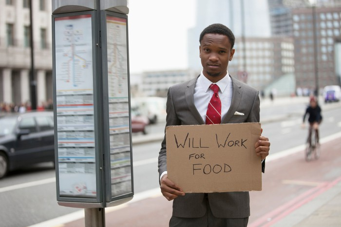 Broke businessman with Will Work for Food sign