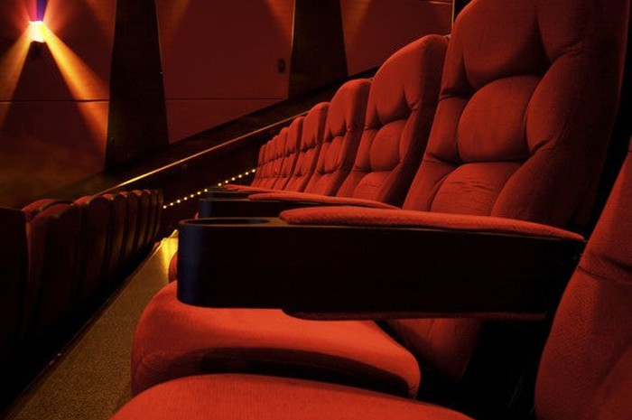 Chairs inside a movie theater.