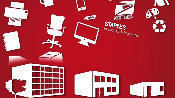 A graphic with office supplies floating above a Staples location and offices