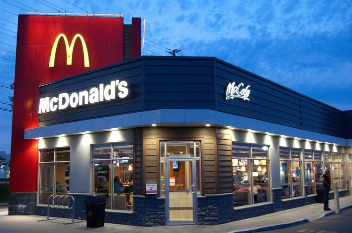 A McDonald's restaurant at sunset