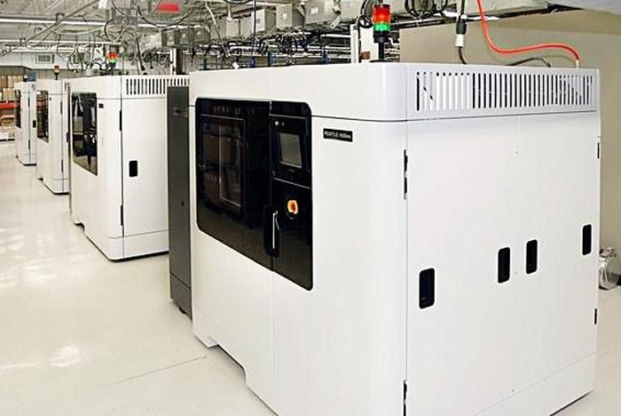 A line of Stratasys' Fortus 3D printers.