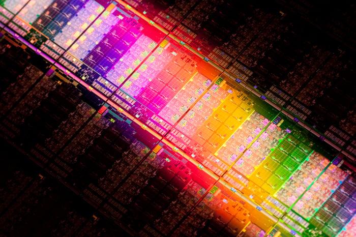 A wafer of Intel server processors.