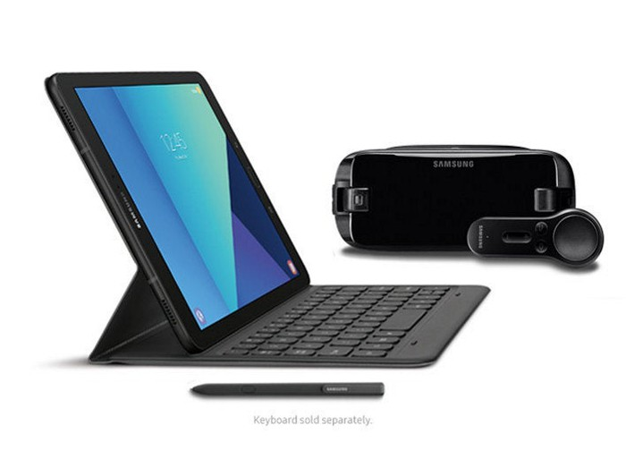 The new Galaxy Book, pictured next to a new Gear VR.