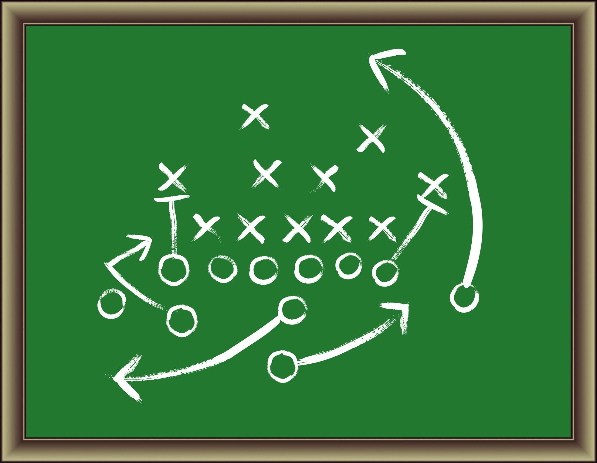Football play diagrammed on a green chalkboard