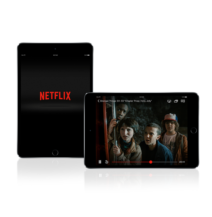 Netflix on a mobile phone and tablet.