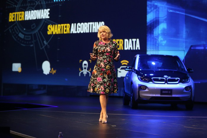 The head of Intel's Data Center Group, Diane Bryant, giving a presentation at an autonomous-driving event
