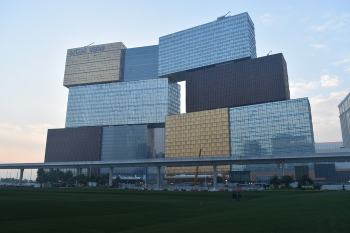 MGM's new resort in Macau, expected to open this summer, looks like shipping containers stacked on top of each other.