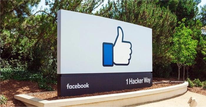 Facebook's corporate headquarters sign.