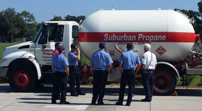 Suburban Propane truck with a fire team.
