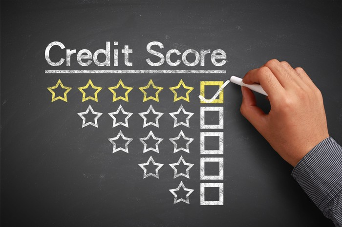 "Credit score levels on chalkboard, with checkmark next to ""excellent"" level."