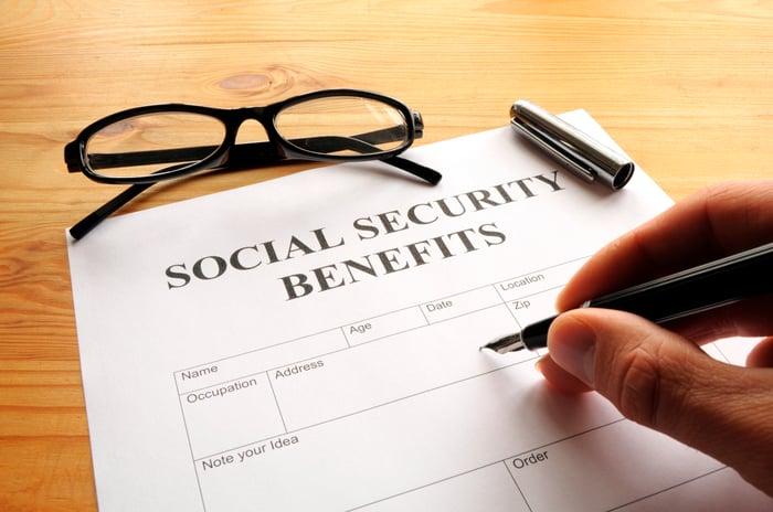 Social Security benefits form.