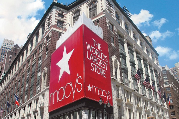 The exterior of a Macy's department store.