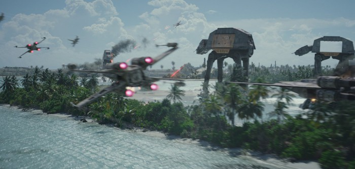 Star Wars battle scene with X-Wings and walkers.