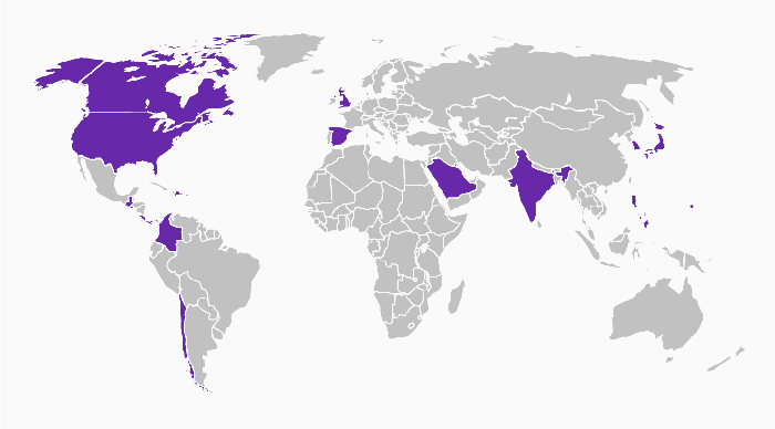 A map of the world showing countries that have a Taco Bell in purple and ones that don't in gray. Most of the world does not have a Taco Bell.