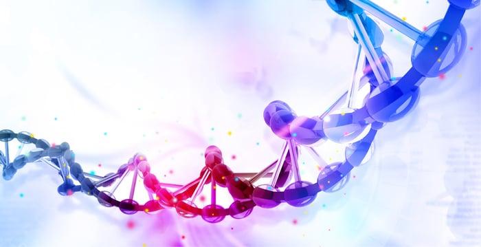 A digital depiction of a DNA strand.