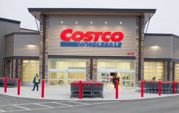The front of a Costco store.