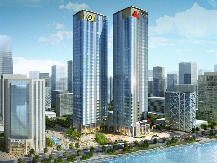 A large office building in China using Otis elevators