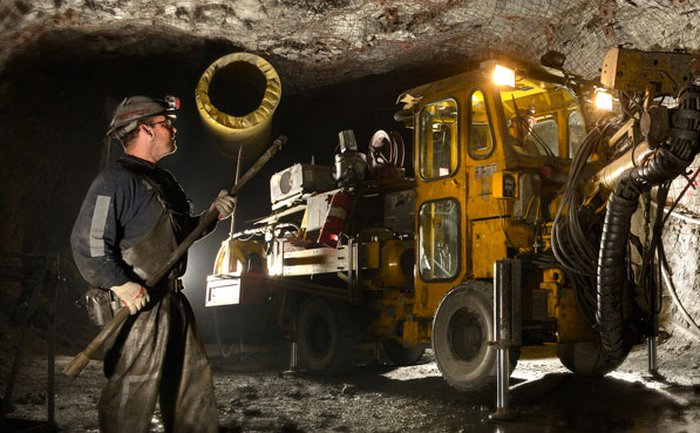 A Hecla Mining employee working in at the Greens Creek mine.
