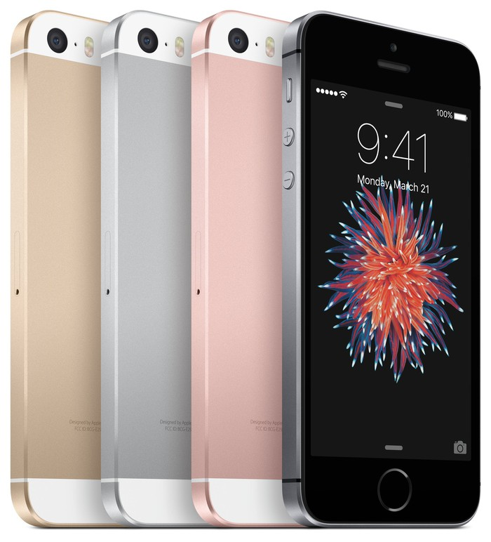 The iPhone SE in four different colors.