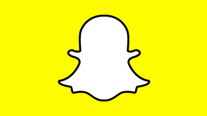 Snapchat's ghost logo on a yellow background.