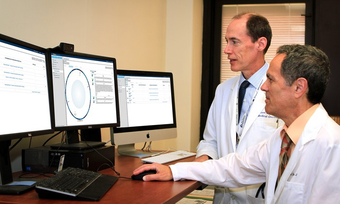 VA oncologists Michael Kelley and Neil Spector review a Watson for Genomics DNA analysis report.