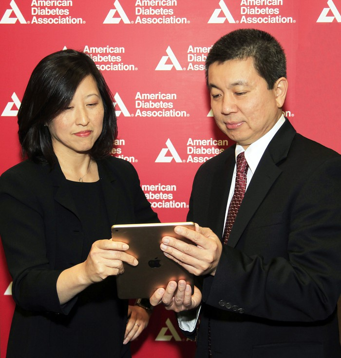 American Diabetes Association SVP of medical innovation Jane Chiang, MD and IBM Watson Health chief health officer Kyu Rhee, MD