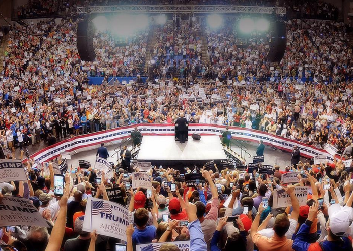 President Trump at a campaign event before his election.