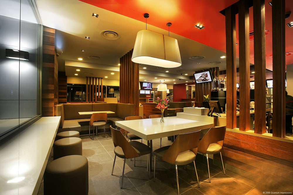 Contemporary, modern McDonald's restaurant interior.