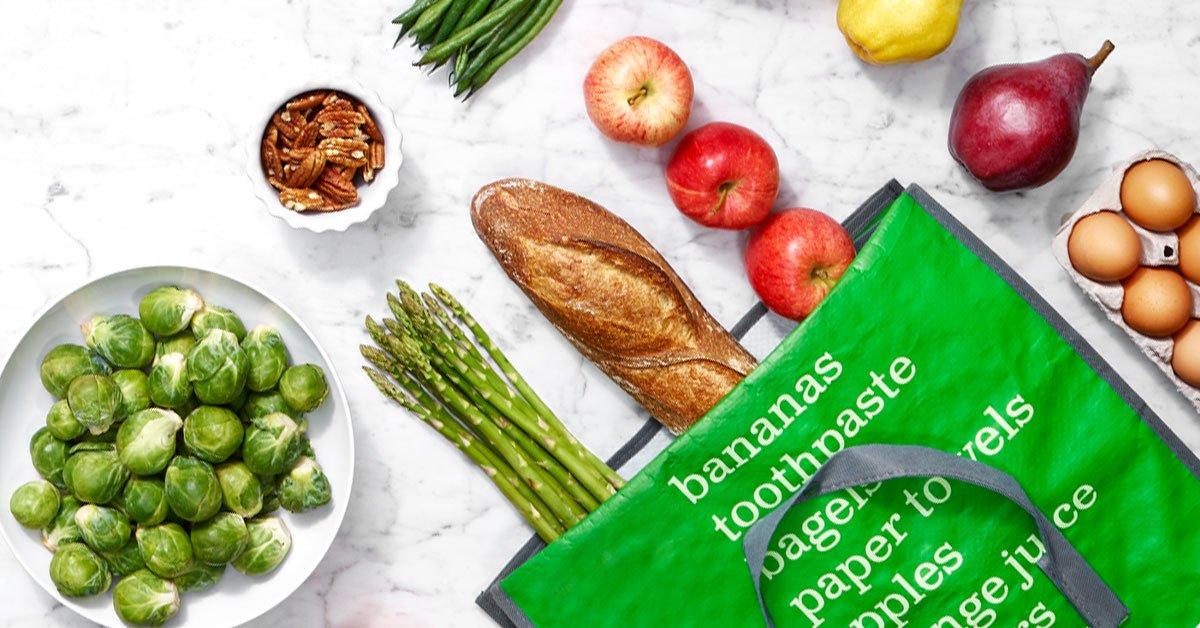 An AmazonFresh shopping bag full of groceries