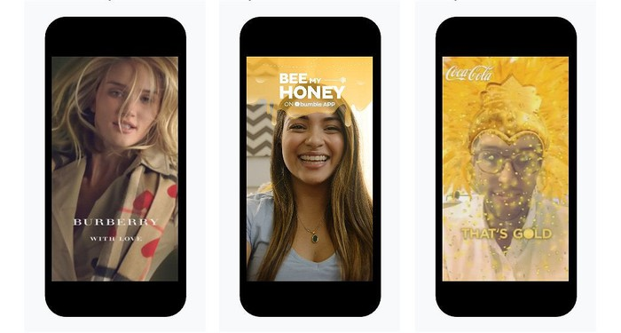 Three types of Snap ads --  full-screen video, sponsored geofilters, and sponsored lenses.