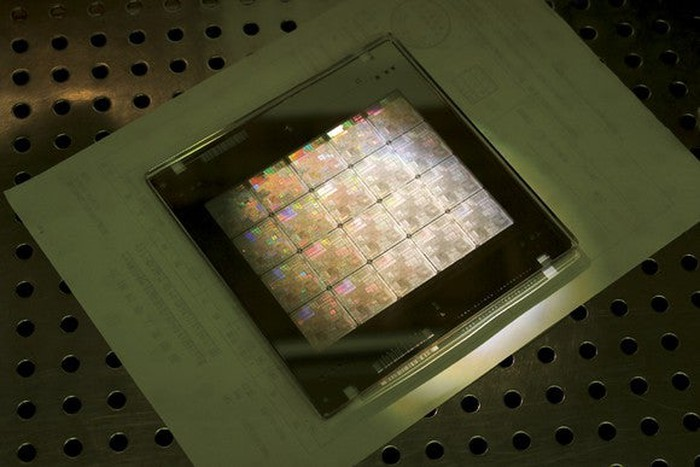 This image shows a wafer of chips produced by TSMC.