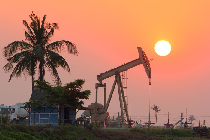 An oil pump near a palm tree at sunset.