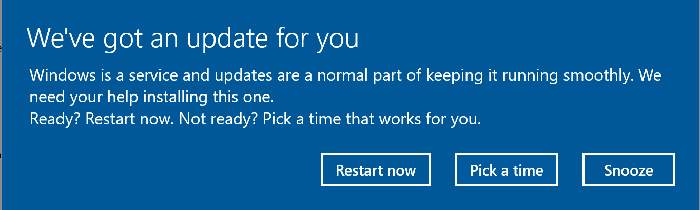The new screen you see when it's time to update Windows.