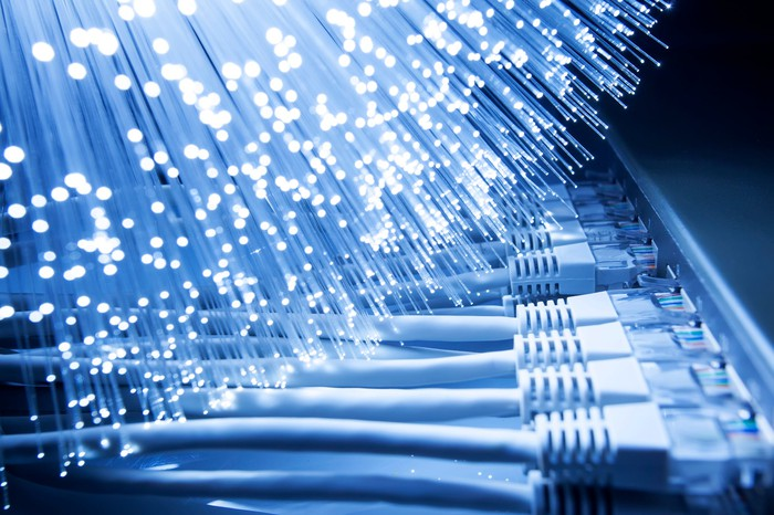 Fiber-optic lights and network cables.