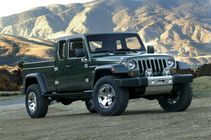 The 2005 Jeep Gladiator Concept, a green pickup truck based on the Wrangler.