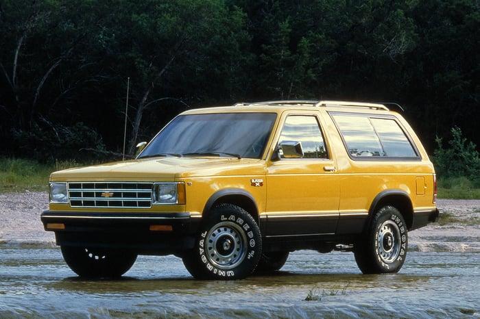 A yellow 1983 Chevrolet S-10 Blazer.