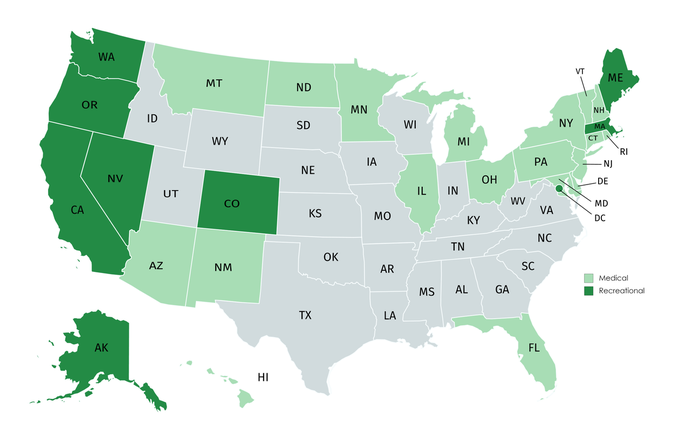 A map of the United States showing which states have approved medical and/or recreational marijuana.
