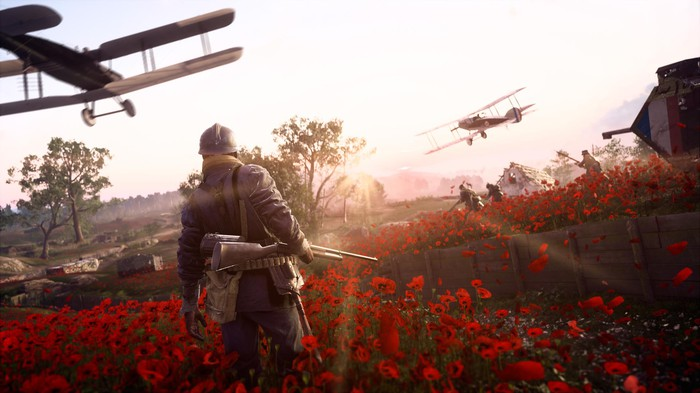 "Screenshot from ""Battlefield 1"" featuring a soldier in a field of flowers and planes flying overhead."