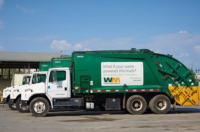 A Waste Management garbage truck